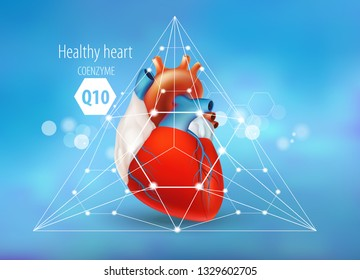 Coenzyme Q10. Healthy heart. Concept .The volumetric image of the heart with polygonal mesh elements on a blue background.