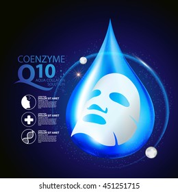 coenzyme q10 Mask Serum and Background Concept Skin Care Cosmetic.