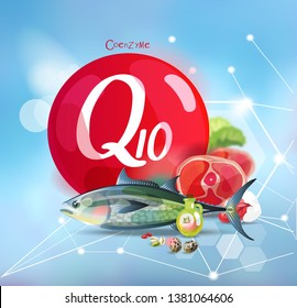 Coenzyme Q10. Natural organic products with a high content of microelement and the conditional sign Coenzyme Q10 on a modern background with polygonal elements.