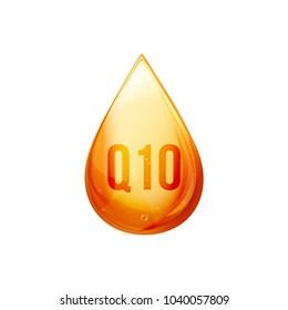 Coenzyme Q10 oil drop. Golden vector oil pill icon. Treatment drop capsule. Q10 skin care solution wellness.