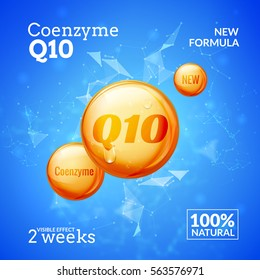 Coenzyme Q10. Supreme serum collagen oil drop vector design. Skin care essence droplet solution. Natural beauty treatment for health
