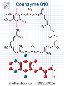 Coenzyme Q10 (ubiquinone, ubidecarenone, coenzyme Q, CoQ10) molecule. Structural chemical formula and molecule model. Sheet of paper in a cage. Vector illustration
