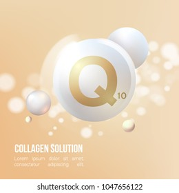 Coenzyme Q10.Regeneration. Collagen Serum and Vitamin Background Concept Skin Care Cosmetic.Elegant and stylish Background.Vector illustration