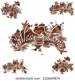 Cofee time inscription on the brown abstract spotted background. Cofee stains. Watercolor imitation. Swirl handwritten text. Useful for cafeteria menu. Emblem for shop. Vector, EPS 10