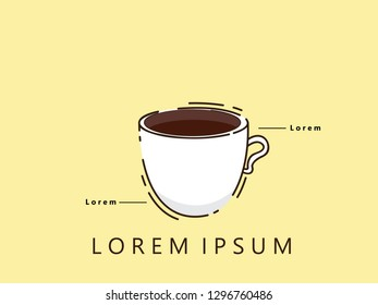 coffe cup flat line icon. modern design. vector illustration