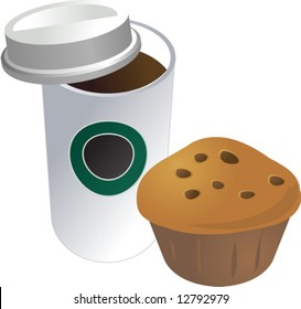 Coffe in disposable cup with muffin breakfast to go