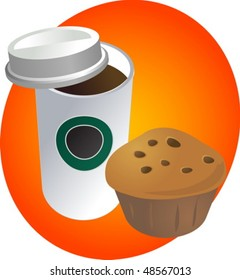 Coffe in disposable cup with muffin breakfast to go vector