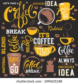Coffe Elements Set.Text.Lettering.Vector illustration.