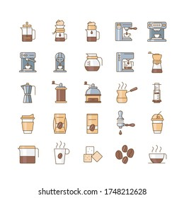 coffe icons set, different types of coffee, color icon
