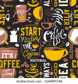 Coffe Seamless Pattern.Vector illustration.