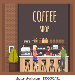 Coffe Shop with Barista and Visitors. Happy Lady and Man Meeting in Cafe and Conversation. Modern Cafeteria with Broun Bar Counter, Cups and Bottles, Espresso, Cappuchino Machine. Flat Banner.