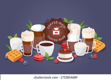 Coffe shop large assortment different drinks, vector illustration. Cafe logo, cups and glasses with coffee espresso, mug with cinnamon or chocolate. Sweet chocolate cake and waffles, coffee shop food.