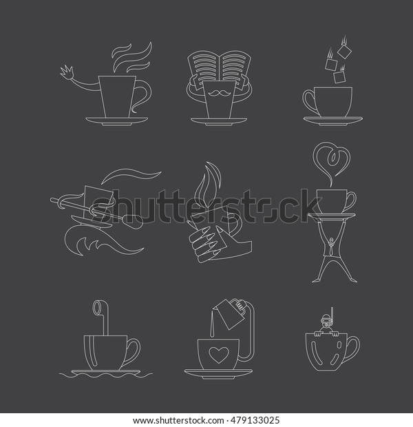 Coffe and tea cup line icon set. Vector illustration.