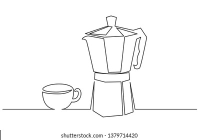 Coffee accessories continuous one line drawing. Italian coffee geyser pot, cup hand drawn illustration. Traditional, vintage coffeemaker, barista tools, equipment minimalistic contour sketch