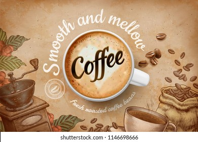 Coffee ads with top view 3d illustration cup and engraved retro background in brown tone