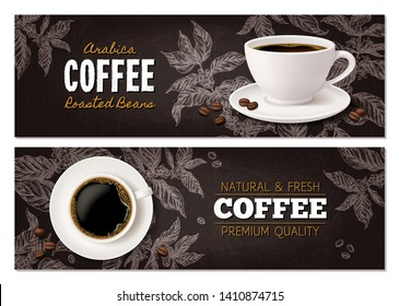 Coffee advertising concept with cup of beverage on blackboard with drawing of coffee tree branches. Vector design of horizontal banners with realistic mug and sketch hand drawn plant
