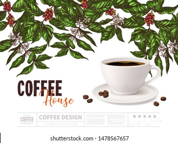 Coffee advertising concept with cup of beverage on white background with drawing of coffee tree branches. Vector poster design with 3d realistic mug and sketch hand drawn plant. Mixed styles