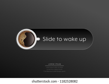 Coffee advertising slide button to wake up vector illustration.