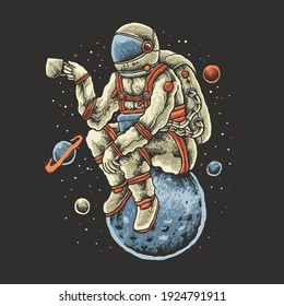 coffee astronaut illustration design, the design can be used for print and digital needs