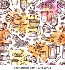 Coffee Attributes Hand Drawn Seamless Pattern. Coffee Sketch Background With Splashes And Blots