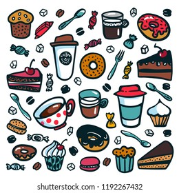 Coffee background. Colorful doodle style cartoon set of objects on coffee theme. Coffee cups and desserts on white background. Exellent for menu design and cafe decoration. Vector illustration