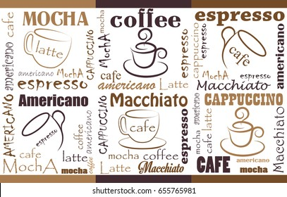 Coffee Background Different Blends and Types. Seamless coffee pattern.Templates with coffee for flyers, banners, invitations, restaurant or cafe menu design.
