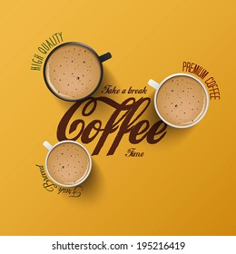 Coffee  background with realistic cup of coffee. Vector