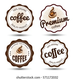 coffee badges and label icon set , vector illustration