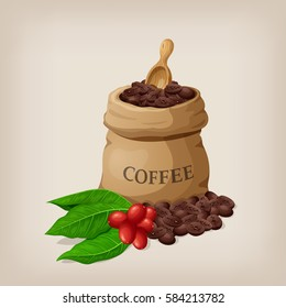 Coffee bag with beans in canvas sack and coffee branch with leaves. Vector illustration