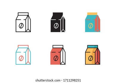 coffee bag icon vector illustration with six different style design. isolated on white background