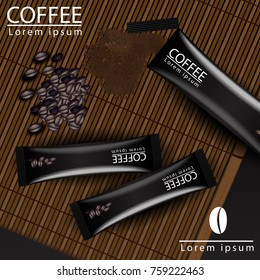 Coffee Bag with Nuts, Split Brown Background, 3D Illustration on Wooden Table