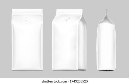 Coffee bag package mockup with degassing valve. Front, side and perspective view. Vector illustration on grey background. Packaging mockup ready for your design, presentation, promo, adv. EPS10.