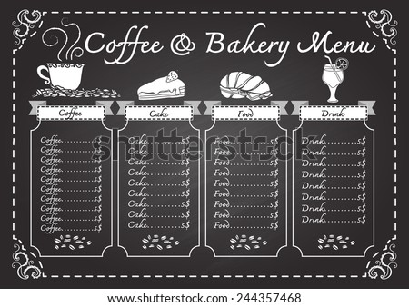 coffee bakery menu on chalkboard design stock vector royalty free
