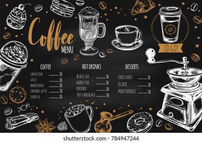 Coffee and Bakery restaurant Menu, brochure. Vector hand drawn template with sketch illustrations and handwritten Chalkboard Lettering, Calligraphy.
