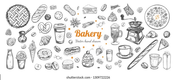 Coffee and Bakery vector hand drawn, elements. Template with vintage sketch illustrations , Different types of pastry and coffee, latte, capuccino, coffe to go cup