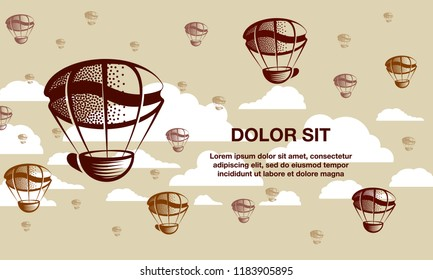 Coffee balloons in the sky. Flying coffee mug and a coffee grains background.