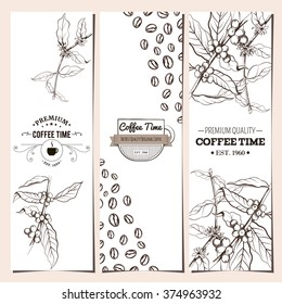 Coffee banner collection. Organic shop. Coffee time shop. Logo. Vector illustration