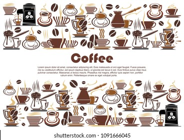 Coffee banner, edged with hot drink and beverage border. Cup of coffee, espresso and cappuccino mug, coffee machine and pot, coffee bean and hot chocolate for cafe menu cover and food packaging design