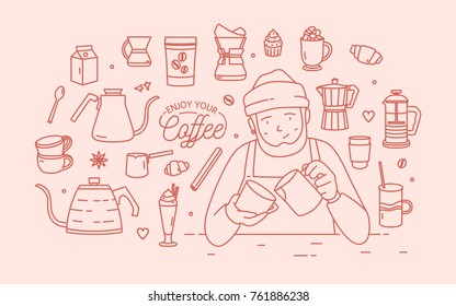 Coffee banner with friendly barista. Line art vector illustration.