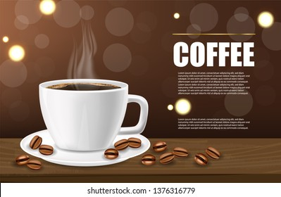 Coffee banner realistic, black coffee cup and coffee beans, white cup realistic, hot drink