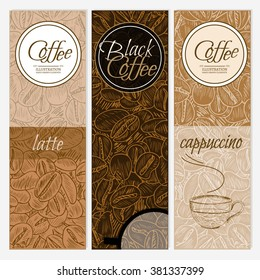 Coffee banner templates black coffee latte cappuccino hand drawn vector illustration