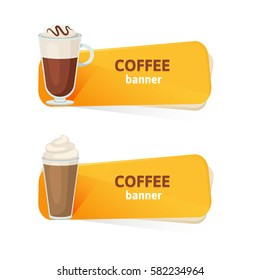 Coffee banners with coffee set on a white background