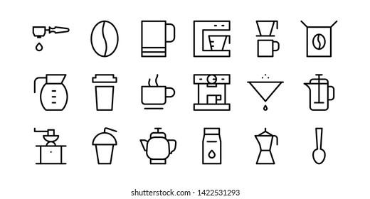 Coffee Bar Line Icon Set
