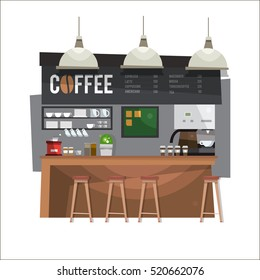 Coffee bar. Coffee shop. Design in flat style. Vector illustration.