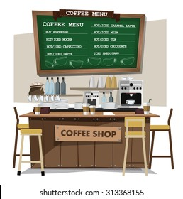 coffee bar, coffee shop. Flat style illustration. EPS 10 vector.