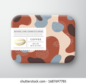 Coffee Bath Cosmetics Package Box. Vector Wrapped Paper Container with Care Label Cover. Packaging Design. Modern Typography and Hand Drawn Bean. Abstract Camo Background Pattern Layout. Isolated.