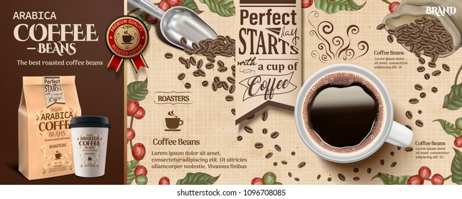 Coffee bean ads in engraving style with a cup of black coffee and roast beans in 3d illustration