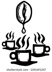 Coffee bean dripping nectar into cups of hot steaming coffee. Hand drawn vector illustration.