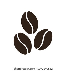 Coffee bean icon isolated, dark brown flat vector coffee beans sign; emblem for coffee shops and cafe