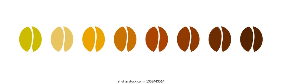 Coffee bean icons collection. Roast level gradient. Vector illustration.